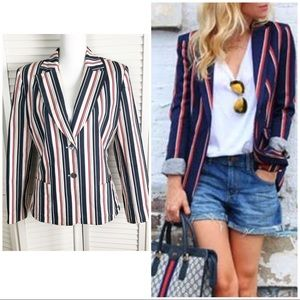 Kasper Nautical Striped Blazer Red White Blue 12
